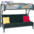 Bunk Beds Student Loft Bed Frame for Girls Kids Teens Twin Over Full with Futon