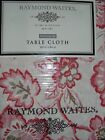 Raymond Waites 60x84 Rectangular Tablecloth Orange Coral Salmon Cream Floral NIP