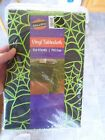 New Halloween Vinyl Tablecloth 52x52 Square Bright Green Spider webs