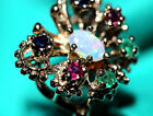 Butterfly Ring Center Opal with Rubies Emeralds and Sapphires .03ct each 10k YG