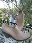 LEVITY BROWN DISTRESS LEATHER 10M MULES HEEL COWBOY WESTERN STYLE WEDGE SHOES