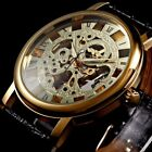 Classic Cool Men's Mechanical Manual Winding Gold Skeleton Watch PU Leather band