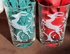 Leaping Gazelle Juice Glasses Clear w Etched Design Pair 3.5