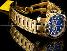 New Invicta Pro Diver Scuba 18K Gold Plated Blue Dial Chrono SS Bracelet Watch