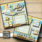 BABY BOY DELIGHT 2 premade scrapbook pages paper piecing layout DIGISCRAP A0028