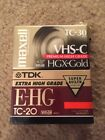 Two NEW VHS-C Tapes Sealed. TC-30 and TC-20. Maxell And Tdk. Free Shipping
