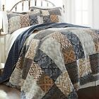 Twin Full Queen King Bed Blue Tan Gray Patchwork 3 pc Cotton Quilt Coverlet Set