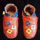 ROBEEZ Toddler Baby Girl Soft Crib Shoes Red w Flowers Sz 6 7 Good Condition