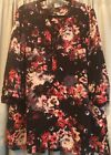 Rose  Olivia Plus Sz 2x Woman Black With Pink Flowers 3 4 Sleeve Blouse Top
