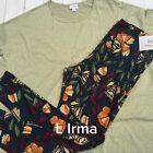 lularoe Outfit Small L irma pretty celery green with gorgeous TC butterflies
