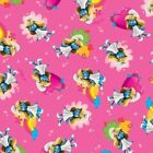 Smurfette Toss Fuchsia Cotton Fabric By the Yard 44 Wide