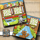 ROUGHING IT camping 2 premade scrapbook pages paper piecing layout DIGISCRAP