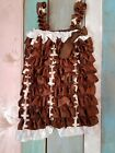 BROWN FOOTBALL BABY GIRL SLEEVELESS ROMPER SIZE 18 24 MONTHS 100 POLYESTER CUTE
