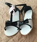 NWT Janie And Jack Spring Green Black White Patent Sandals Shoes Sz 1 Youth