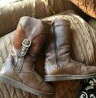 WOMENS UGG AUSTRALIA LEATHER CARGO BOOTS WITH BUCKLE BROWN SIZE 10 US