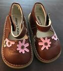 Girls Toddler Sherrys Place Brown Leather Pink Flower Mary Janes Size 22 6 EUC