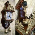 LARGE VTG ANTIQUE GERMANY WALL HOLLAND ALARM CLOCK  PENDULUM  HEAVY WEIGHTS