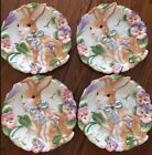 SET Of 4 Fitz & Floyd HALCYON Canape Cookie Serving Dish Plates Easter Bunny 9
