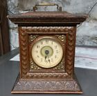 Antique wood and glass alarm clock
