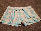 Juniors Unionbay Plaid Shorts Teal yellow white gray size 9