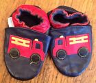 Robeez Fire Truck Engine Leather Crib Shoes Size 0 12 Suede Botton Navy
