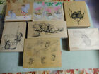 House Mouse Rubber Stamp Lot LQQK Wood Mounted 7 Stamps New Lightly Used