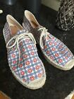 Brand New J CREW Printed Lace Up Espadrille Flat Sneaker sz 11