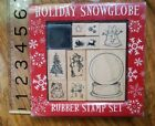 All Night Media Holiday Snowglobe rubber stamp set Christmas tree dog snowman