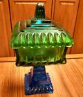 Vintage Jeannette Green to Blue Flashed Glass Candy Dish ca.1950's, Atomic