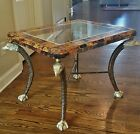 VTG MAITLAND SMITH TORTOISE PEN SHELL EAGLE LEG EMPIRE SIDE TABLE ACRYLIC INSET