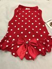 Pet Clothes Apparel Outfit Dog Dress Size S Red White Dots Red Bow Gem Center