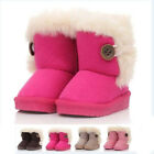 Girls Kids Button Soft Winter Keep Warm Ankle Casual Boot Snow ski Boots Shoes