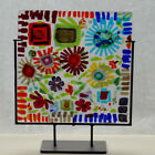 Art Glass panel fused glass Abstract flowers