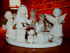 WHITE CERAMIC NATIVITY SET CIRCULAR CANDLE HOLDER 14 KT GOLD TIPPED CENTERPIECE
