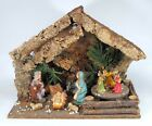 Vintage Christmas Nativity Set Wooden Manger With Music Box Carousel Italy