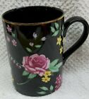 FITZ & FLOYD AMBOISE MUG FLORAL ON BLACK WITH GOLD TRIM DISCONTINUED NEW IN BOX