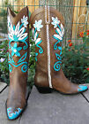 Ladies MATISSE Custom Hand Painted Leather Cowboy Boots Cut Out Floral 6 M