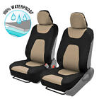 Motor Trend 3 Layer Waterproof Car Seat Covers Auto Protection Black Beige Set