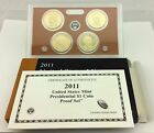2011 PRESIDENTIAL 1 GOLDEN DOLLAR GEM PROOF DCAM 4 COIN SET with box and COA