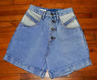 Vintage RIO 80s high waisted full cov Sz 7 Stone washed Jean Shorts NOS unworn