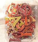 Chipboard Letters Fall Floral 52 pc Patterned Green Brown Orange 15 Scrapbook