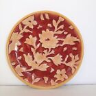 Fitz And Floyd Del Vino Flowers Party Plate Tan On Rust With Yellow Trim FF Fall