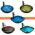 165 Bathroom Tempered Glass Vessel Sink Faucet W Pop Up Drain Bowl Top Combo