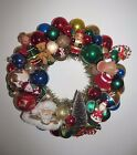 Christmas Ornament Wreath Vintage Shiny Brite 16 Glass Bottle Brush Tree Santas