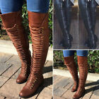 Women Over the Knee Lace Up Bandage Thigh High Combat Low Heel Boots Flat Shoes