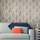 Vintage style paper Wallpaper rolls wallcoverings damask violet gold text