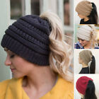 Fashion Womens Girl Hat Winter Warm Stretch Knit cap Messy Bun Ponytail Beanie