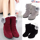 Newest Womens Boots Winter Warm Snow Boots Thicken Fur Scrub Suede Flats Shoes