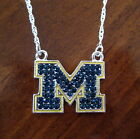 University of Michigan Wolverines Go Blue CRYSTAL M NECKLACE rhinestone jewelry