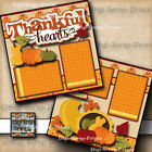 THANKFUL HEARTS thanksgiving 2 premade scrapbook pager piecing layout DIGISCRAP
